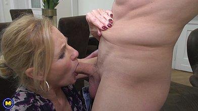 Elegant mature blonde Molly Maracas doing hot deep blowjob