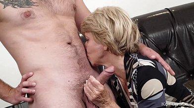 Sexy granny Sylva blows her younger lover